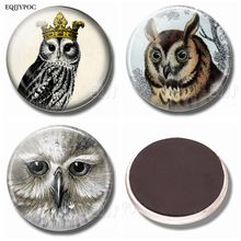 Lovely Owl Fridge Magnets Glass Dome Ornaments Refrigerator Magnet Sticker 30MM Magnetic Stickers Lovely Creative Home Decor painting the bird 30mm fridge magnet cute animals refrigerator magnet glass dome magnetic stickers creative home decor