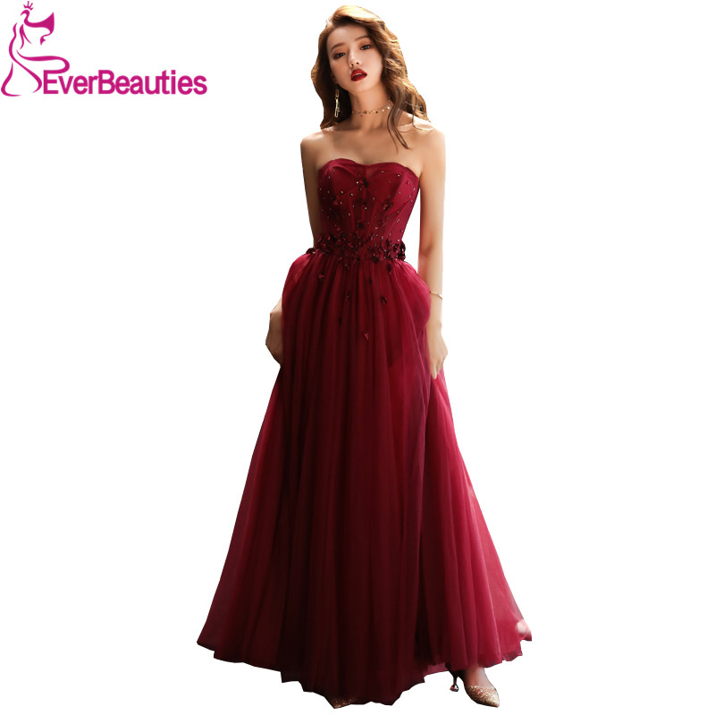 Sexy Strapless   Evening     Dress   Long Tulle Appliques Beading Sleeveless   Evening   Gowns Elegant Party Gowns Robe De Soiree