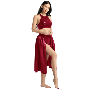 Image 3 - TiaoBug Adult Women Ballet Dress Sequin Halter Crop Top with Built In Leotard Skirt Set Stage Performance Lyrical Dance Costumes