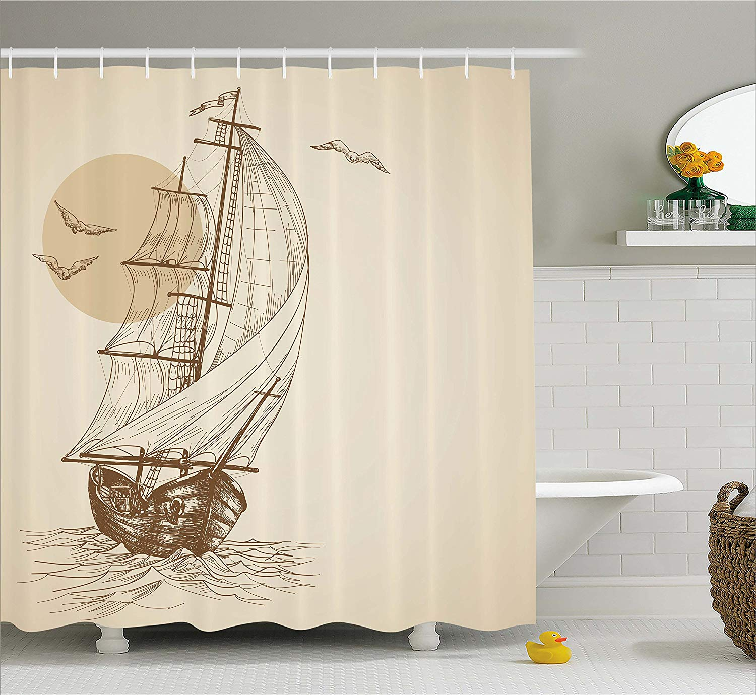 Beige Shower Curtain Nautical Maritime Love Sailor Old Wooden Sailboat On Ocean Waves Seabirds Seagulls