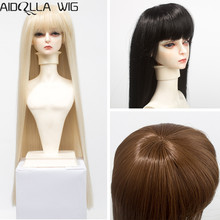 Size 1/6 1/4 1/3 BJD Doll Wigs Long Straight Brown Khaki White Black Wigs Hair for SD/BJD Doll High-temperature Synthetic Fiber [wamami] 18 brown 1 3 sd17 bjd dollfie synthetic leather boots shoes