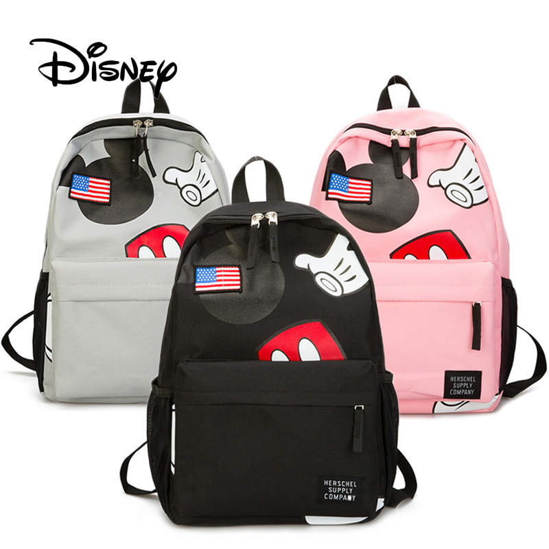 Disney Plush Backpack Mouse-Bag Mickey High-Quality Casual for Children's Satchel Girls