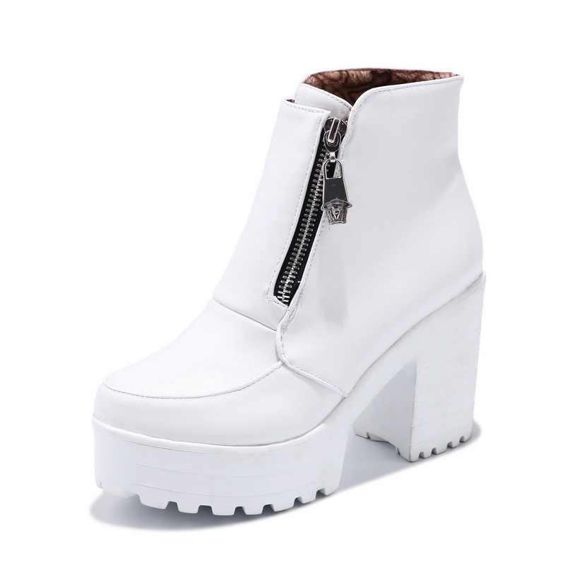 Schwarz Weiß Plattform Stiefeletten für Frauen High Heels Stiefel Damen Zip Herbst Winter Booties Frau Stiefel Schuhe 2019 Dropshipping