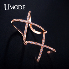 UMODE Knuckle Ring Rose Gold/Platinum Plated Double X Shaped Full Finger Rings For Women Jewelry With AAA CZ  AUR0064
