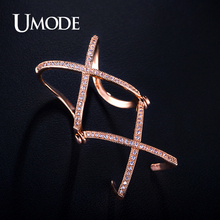 UMODE Brand Knuckle Ring Rose Gold Double X Shaped Full Finger Rings For Women Jewelry With