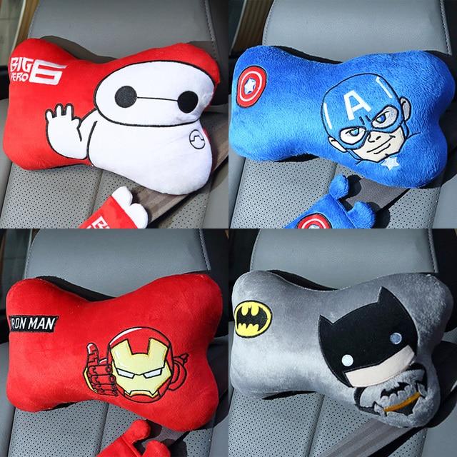 Cute 1 pair 29cm hero Baymax Batman spiderman captain America Iron man plush car headrest Vehicle neck pillow stuffed toy