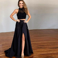 Luxury Two Piece Prom Fast Shipping 2018 Robe De Soiree High Neck Beaded Sexy Girls Homecoming Party Custom Made mother Dresses