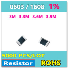 ОМ 0603 F 1% 5000 шт. 3 М 3.3 М 3.6 М 3.9 М smd 1608 резистор