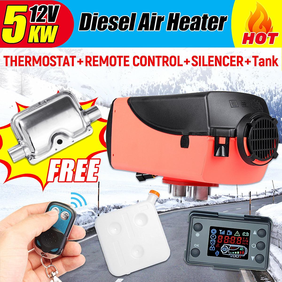 12 v 5000 w LCD Moniteur Air diesels Réchauffeur De Carburant Unique Trou 5KW 10L Réservoir Télécommande Pour Camions Bateaux bus De Voiture Remorque Chauffe-