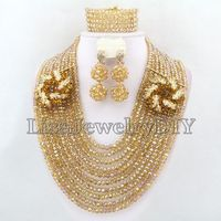 Champagne Nigerian Wedding Beads Jewelry Sets African Beads Jewelry Necklace Sets HD4475