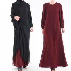 Мусульманские однотонные abaya обе стороны можно носить Дубай платья с длинными рукавами композитная шелковая пряжа Катара турецкая