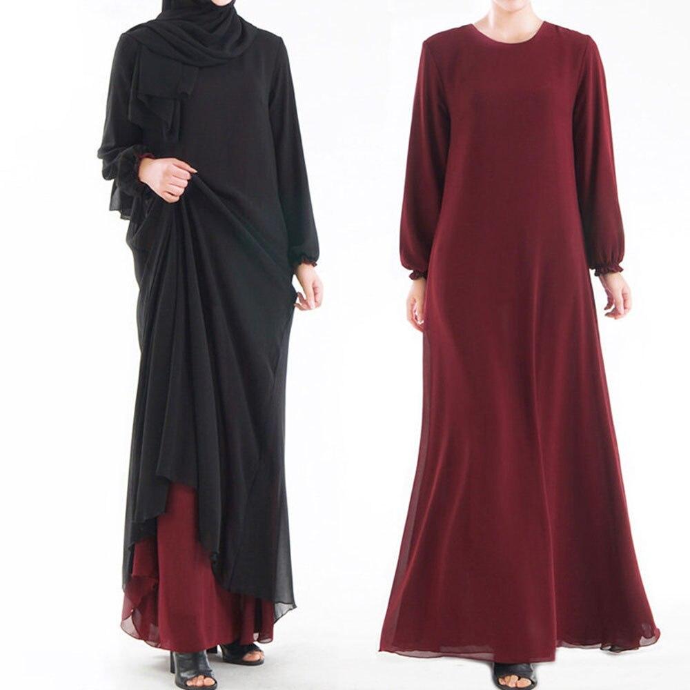 Musulman Solide Abaya Les Deux Côtés peut Porter Dubaï Manches Longues Robes Composite soie fil Qatar Turc Islamique Vêtements Bonne Qualité