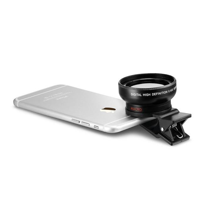 Universal 2 en 1 gran angular 0.45x lentes Super Gran Angular de Alta Definición Digital lentes lente macro para iphone 5s iphone 5 6 6 s 7 lente