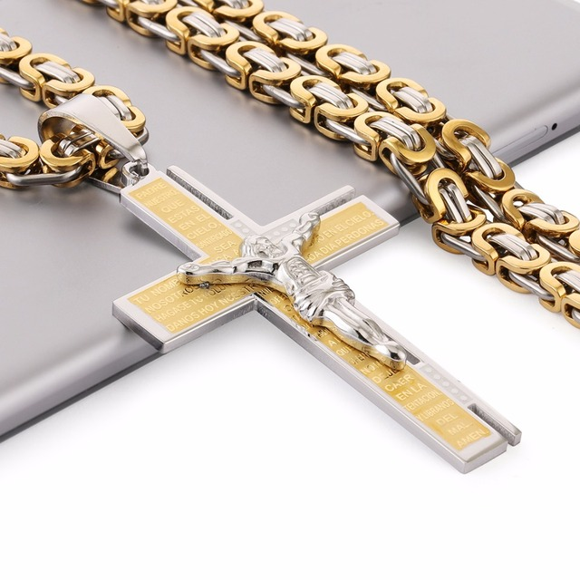 c0c710b80e0ca Christian Bible Pendant Necklace Virgin Mary Jesus Cross Gold Color Stainless  Steel Byzantine Chain for Men Wholesale NZ017