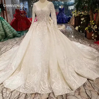 LSS486 high quality wedding dresses royal long train v neck long sleeve shiny bride dress wedding gown 2019 new fashion design