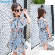 Cutyome נוער בנות בגדים קיץ בוהו ללא כתפיים פרפר הדפס שמלות שיפון לילדים פרוקים גודל 10 11 12 13 14