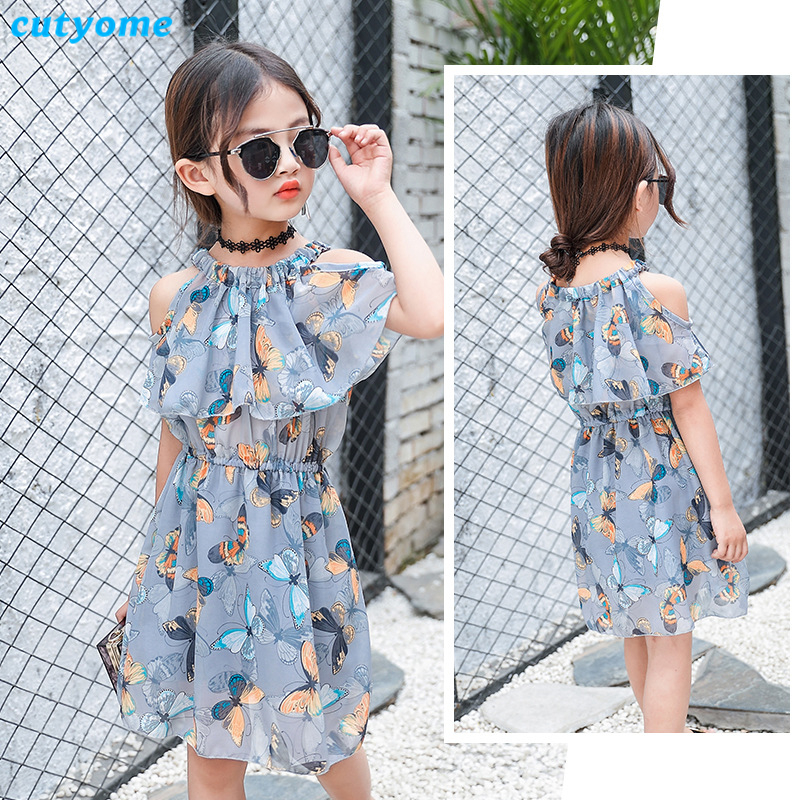Cutyome Teenage Girls Clothing Summer Boho Shoulderless Butterfly Print Chiffon Dresses for Children Frocks Size 10 11 12 13 14