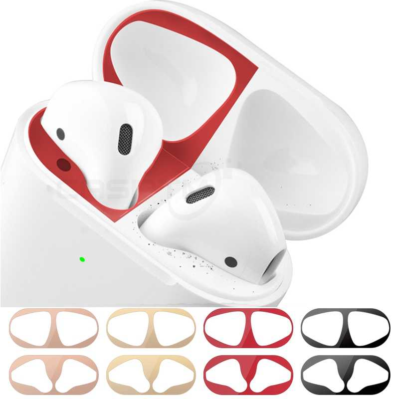 Metal Dustproof Sticker for Apple AirPods 2 Case Cover Accessories Ultra-Thin Protective Wrap Sticker Skin Self-Adhesive Film