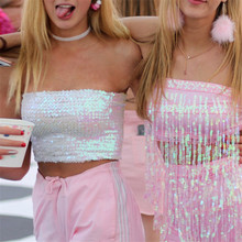 10571d376d9d3 Bling Sequins Crop Tops Sexy Women Strapless Tube Top Stretchy Vest  Festival Rave Clothing Stage Performance