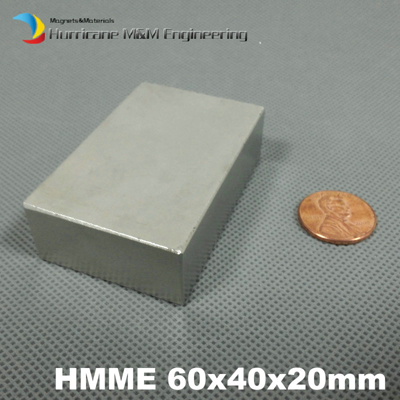 N52 NdFeB Block about 60x40x20 mm Strong Neodymium Permanent Magnets Rare Earth Industry Magnet 10pc lot 60mm x 20mm x 10mm super strong block magnets 60x20x10mm rare earth neodymium magnet n52 60 20 10mm track no aps0523