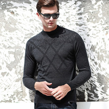 MEI QIU MEI Autumn Winter Men Semi Collar Jacquard Sweater Pure Wool Bottoming Thick