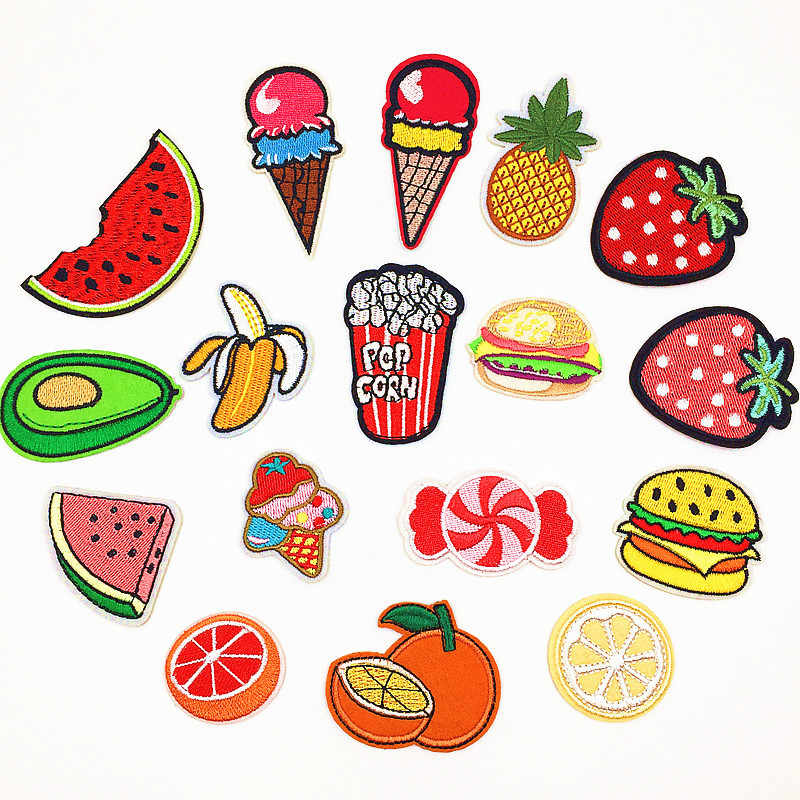 1 PC Fruit Burger Patches for Clothing  Iron on Patches for Clothes Stickers for Clothes Embroidery Patch Stripes Badges