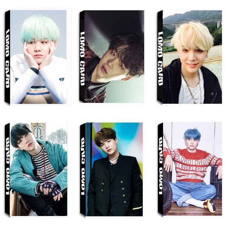 YANZIXG KPOP BTS Bangtan Boys Album SUGA Self Made Paper Lomo Card Photo Card Poster HD Photocard Fans Gift Collection bts 4th bts 4th mini album pt 2 peach version blue version set 2ea lot photobook 98p 1photocard 2015 12 01 kpop album