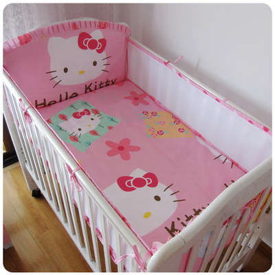 ФОТО Promotion! 5PCS Kitty Baby Cot Bedding Set Newborn Crib Kids Bumper baby cot sets baby bed Cot bedding Bumper (4bumpers+sheet)