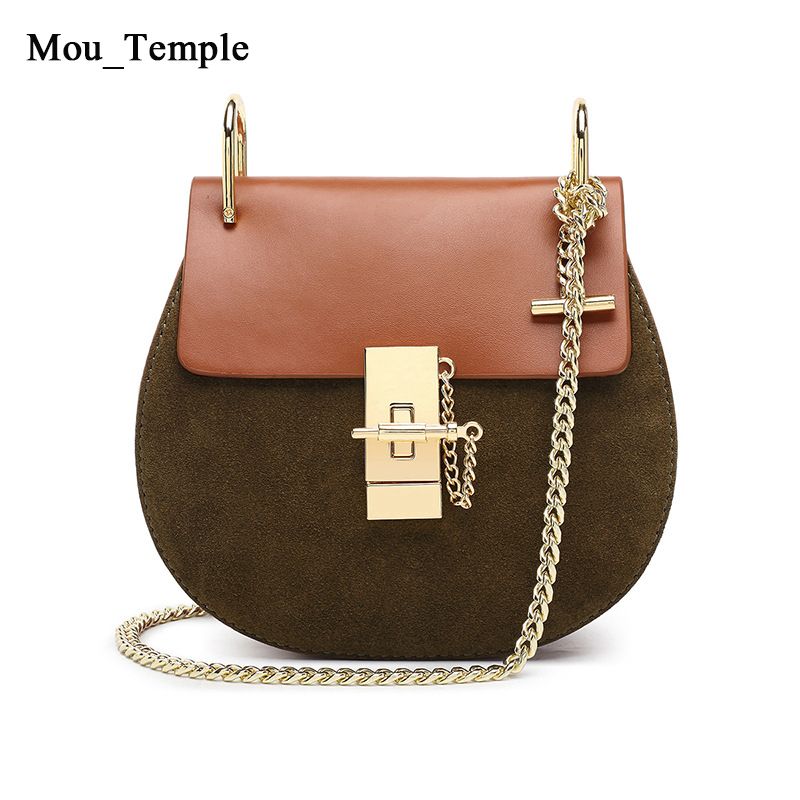 ФОТО 2017 Famous Brand Women Cowhide Chain Bag Real Genuine Leather Shoulder Bags Ladies Designer Crossbody Suede Saddle Round Bag