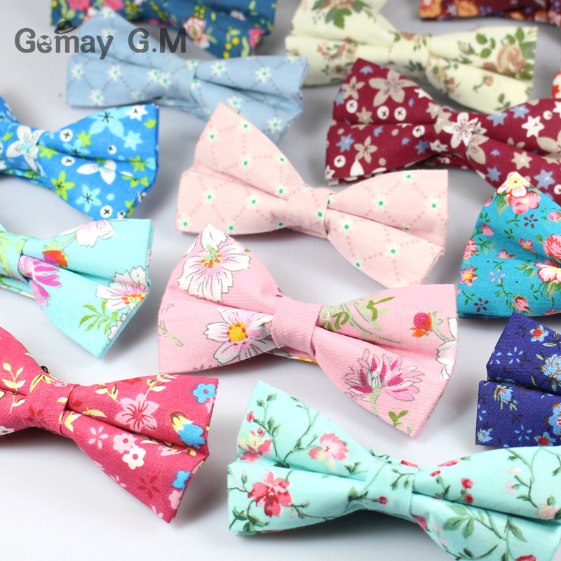 Classic Floral Pattern Bow Tie for Men Print Cotton Bowtie British - Apparel Accessories