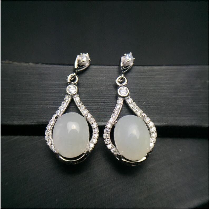 Boucles d'oreilles en Jade blanc Hetian jaspe naturel livraison gratuite 925 bijoux en argent sterling pour hommes ou femmes
