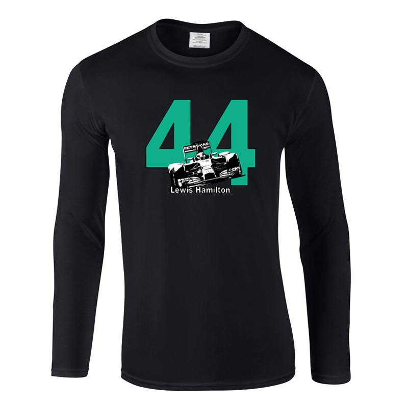 Lewis Hamilton 44 F1 Race Car T Shirt Men's Plus Size O-Neck T-shirts Fashion Streetwear Hip-Hop long sleeve Tops Tees
