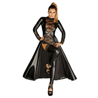 Wetlook Faux Leather Matrix Trench Costume Full Sleeve Leather Dress Luxurious Gothic Black Vinyl Long Dovetail Cloak Clubwear