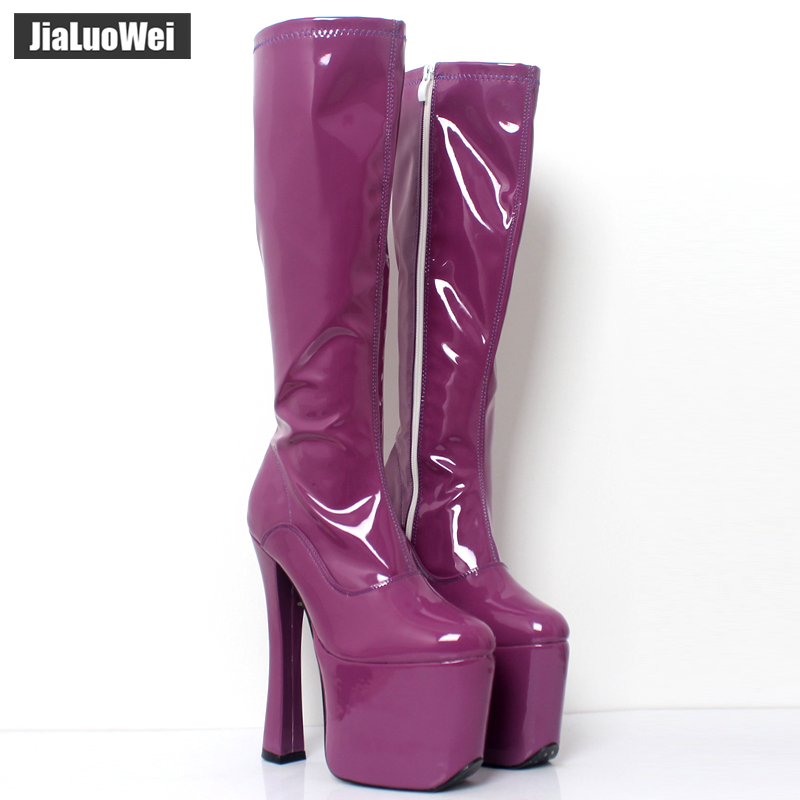jialuowei 20CM Extreme High Square Heels Platform Knee-High Boots Patent Leather Side Zipper Sexy Fetish Party Dance Show Shoes jialuowei 20cm ultra high heel chunky heels platform zip buckle boots women dance party over knee fetish thigh high shoes