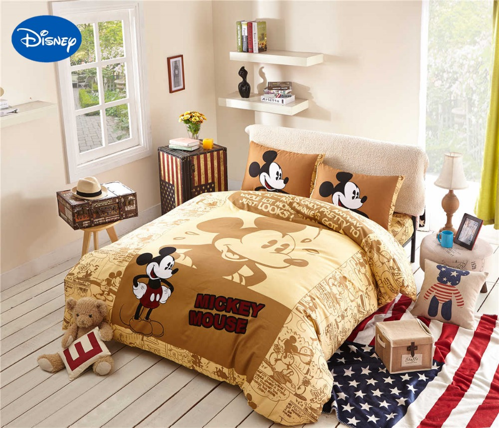 Cartoon Disney Print Bedding Set Mickey Mouse Cotton 600tc