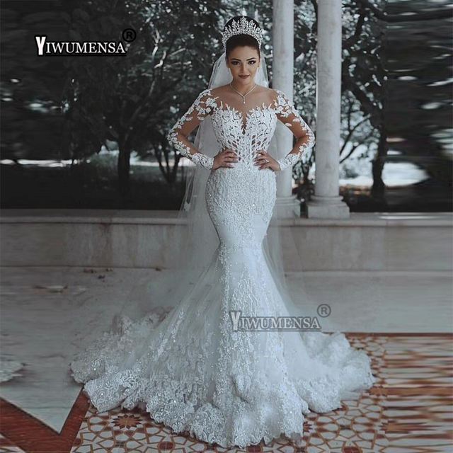 Vestidos de Novia Latest Mermaid Scoop Wedding Dresses 2019 Long Sleeves Appliques Bridal Wedding Gowns Bride Dress Custom made