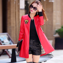 2016 new leather women coats long paragraph windbreaker jacket motorcycle coat