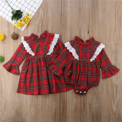 d490679634de Detail Feedback Questions about Newborn Kids Baby Girls Red Plaid Clothes  Lace Checks Bodysuit Jumpsuit 0 24M Mini Dress Long Sleeve Casual Clothes 1  6T on ...