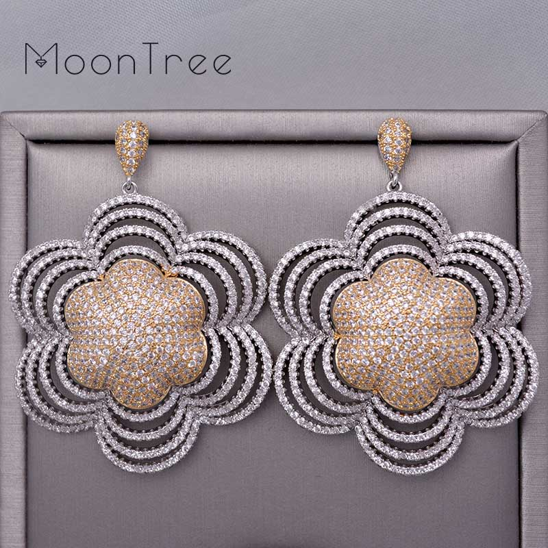 MoonTree 66mm Luxury Floral Petals Luxury Betterfly Full Mirco Paved Microl Zirconia Wedding Earring Jewelry Fashion электрический накопительный водонагреватель ariston abs andris lux 10 ur