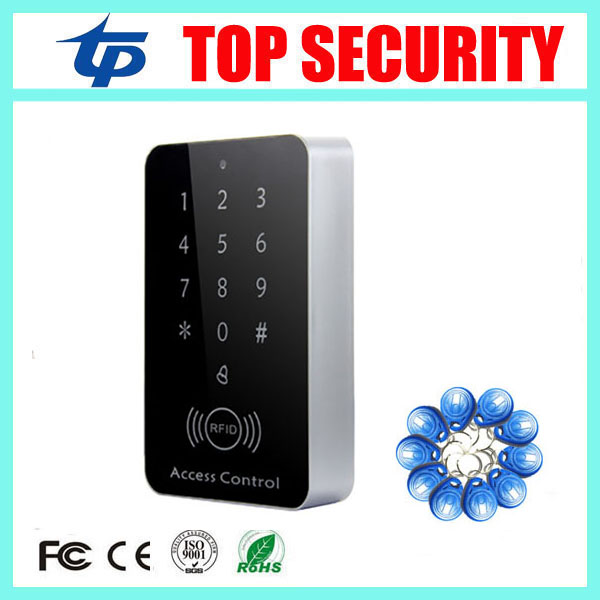 New arrival cheap price touch screen standalone door access controller 125khz RFID em card access control reader with 10pcs key metal rfid em card reader ip68 waterproof metal standalone door lock access control system with keypad 2000 card users capacity