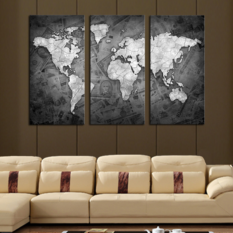CLSTROSE Limited Frameless Pcs Wall Art Grey Color Modern World - Grey world map canvas