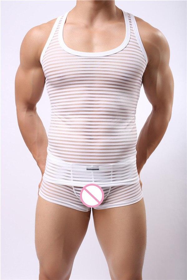 Мужские сексуальные забавные дышащие полосатые майки Нижние рубашки прозрачный сетчатый жилет Новая мода 6 цветов не включает брюки m-xl - Цвет: White