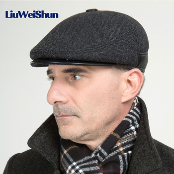[LWS] Winter Elderly Men Hat Newsboy Cap Flat Beret Cap For Male Thick Wool Beret Newsboy Hats Boina Vintage Plaid Warm Bonnet