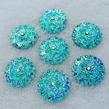 12 шт AB круглые цветы, стразы из смолы, аппликация с плоским основанием, стразы и crystals-E345