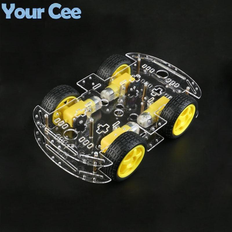 Motor Smart Robot Car Chassis DIY Kit Speed Encoder 4WD 4 Wheel Drive Car For Arduino