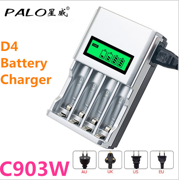 PALO C903W 1.2V 4 Slots LCD Display Smart Intelligent Charger For AA/AAA NiCd NiMh Rechargeable Battery With EU AU US UK Plug