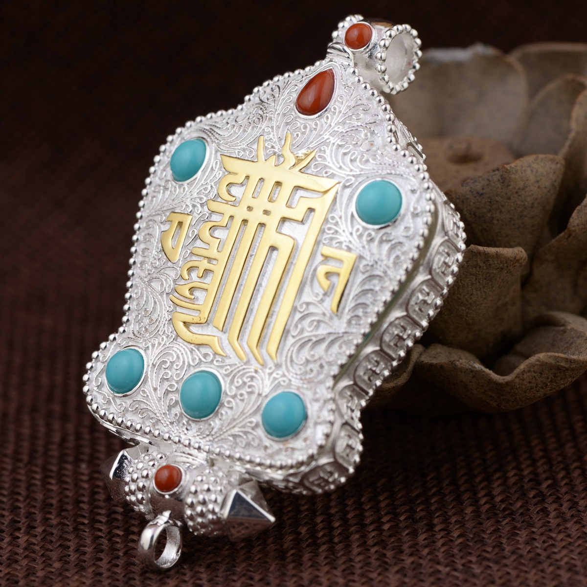S925 silver honk the black box of Chinese knot pendant Thai silver antique style ten comfortable buddhist accessoriesS925 silver honk the black box of Chinese knot pendant Thai silver antique style ten comfortable buddhist accessories