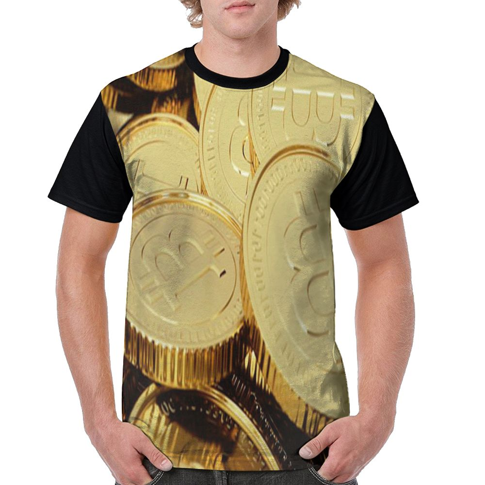 SAMCUSTOM Men T full printing cryptocurrency Gold Bitcoin 3D casual spring, summer and autumn men's short sleeve T-shirt 4