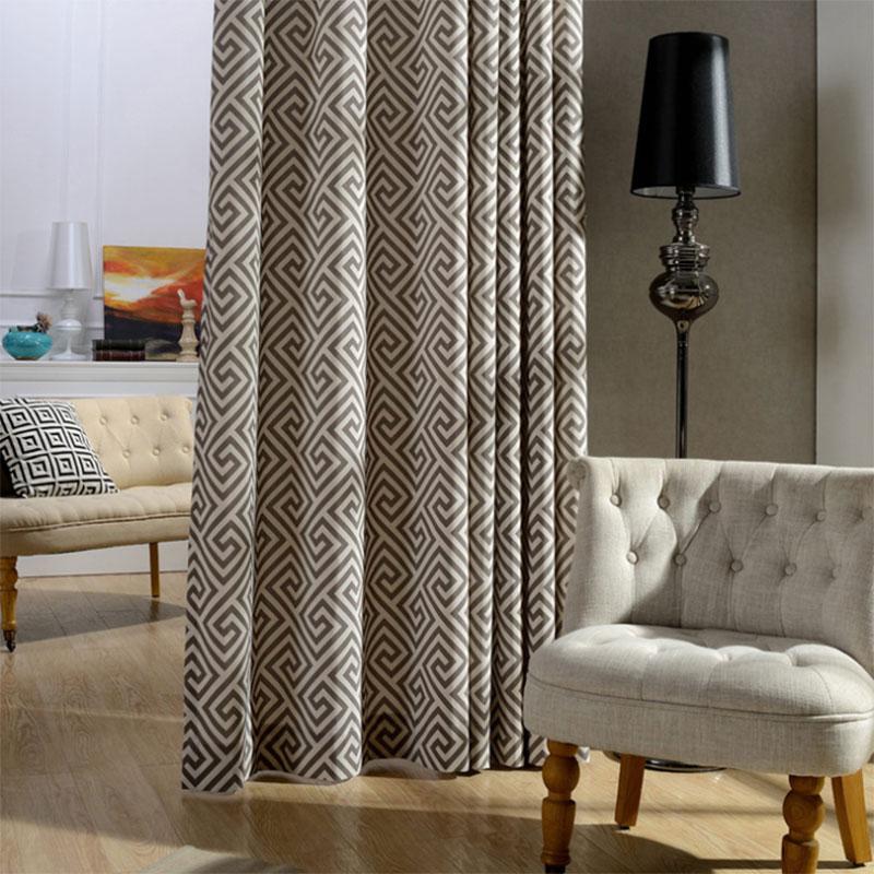 Modern Kitchen Curtains Geometric Striped Drapes Grommet
