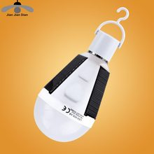 JJD Hot Solar Lights LED Ball Bulb Solar Powered or Li-ion Rechargeable AC 85V-265V Hanging Emergency Camping Travel Lamps(China)
